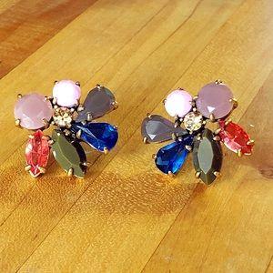 J. Crew | Cluster Stone Stud Earrings Green Pink